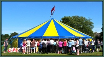 Big Top for a day of Circus skills workshops with Circus sensible