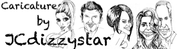 caricatures by jcdizzystar banner showing some of her caricatures