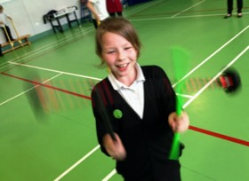 Circus Skills Workshop in the School Hall at a Circus Day