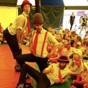 Comedy Circus shows for schools with Circus Sensibles Big Top days. Three of our performers posing cheekily for the camera
