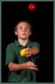 Juggler in one of our Circus workshops for schools near Birmingham