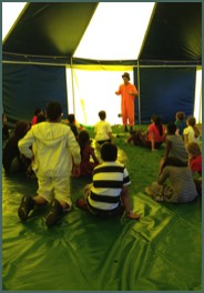 A Circus workshop in a school with our Circus tent near birmingham
