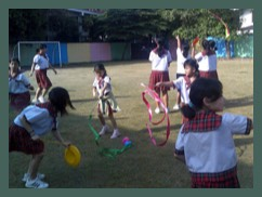 Circus Sensible running a day of Circus workshops in a school in Bangkok