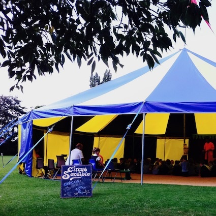 One of our beautiful blue and yellow Big Tops at a School circus day in Rotherham.