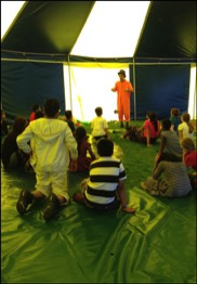 A Circus workshop in a school with our Circus tent in rotherham
