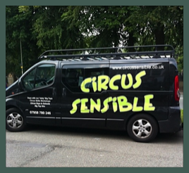 The Circus Sensible van at another Day of Circus workshops in Stafford Schools