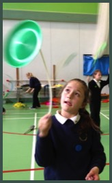 Circus workshops in a Secondary School with our Circus tent