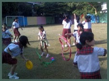 Circus Sensible running a Circus skills workshop at the Anglo-Singapore School, Bangkok