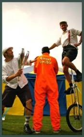 Circus skills with juggling, unicycling and the Circus Sensible Circus Tent