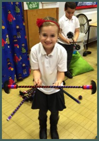 Flower Stick Juggler in a School Circus skills workshop with Circus Sensible